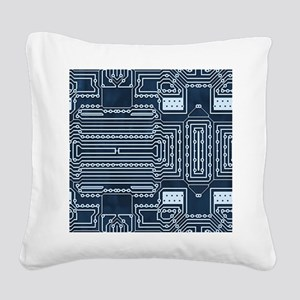 Blue Geek Motherboard Circuit Square Canvas Pillow