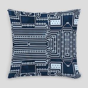 Blue Geek Motherboard Circuit Patt Everyday Pillow