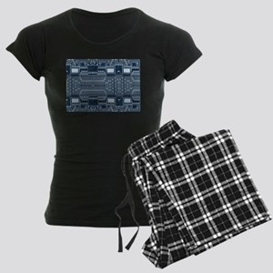 Blue Geek Motherboard Circuit Pattern Pajamas