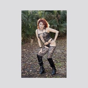 Sexy Redhead Wearing Lingerie Out Rectangle Magnet