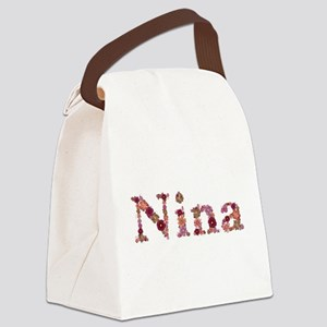 Nina Pink Flowers Canvas Lunch Bag