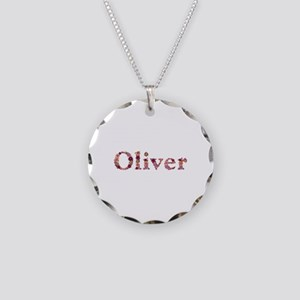 Oliver Pink Flowers Necklace Circle Charm