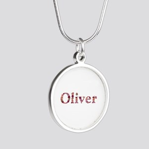 Oliver Pink Flowers Silver Round Necklace