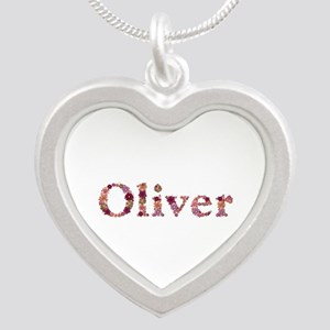 Oliver Pink Flowers Silver Heart Necklace