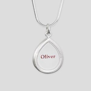 Oliver Pink Flowers Silver Teardrop Necklace