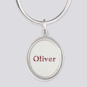Oliver Pink Flowers Silver Oval Necklace