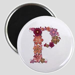 P Pink Flowers Round Magnet