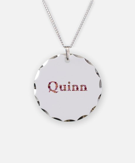 Quinn Pink Flowers Necklace Circle Charm