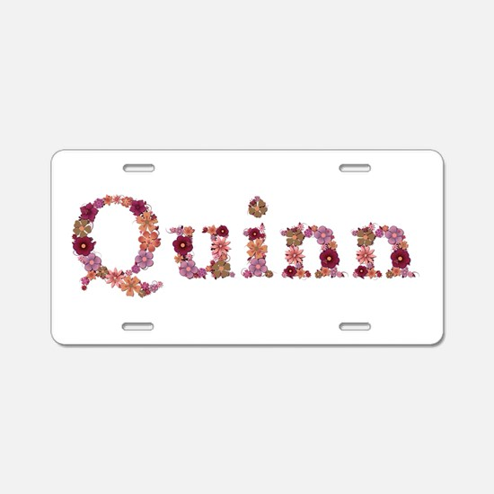 Quinn Pink Flowers Aluminum License Plate