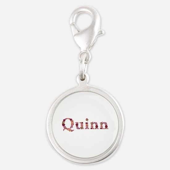 Quinn Pink Flowers Silver Round Charm