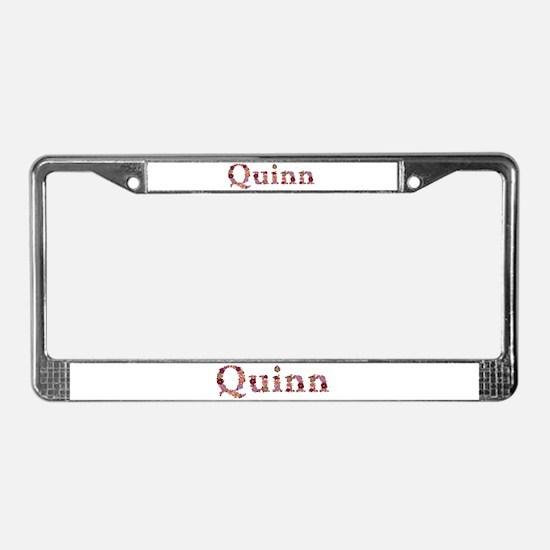 Quinn Pink Flowers License Plate Frame