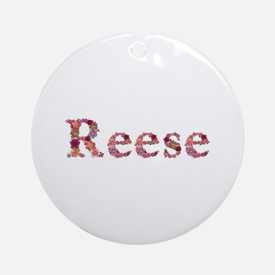 Reese Pink Flowers Round Ornament
