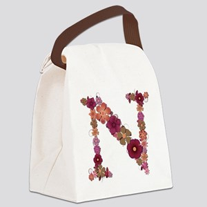 N Pink Flowers Canvas Lunch Bag
