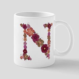 N Pink Flowers Mugs