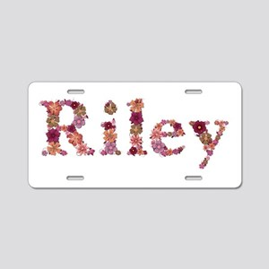 Riley Pink Flowers Aluminum License Plate