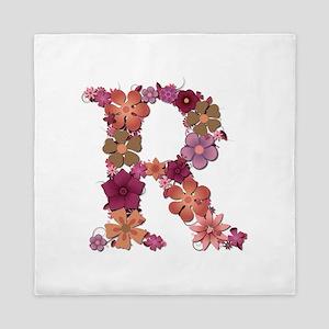 R Pink Flowers Queen Duvet