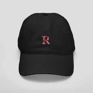 R Pink Flowers Black Cap