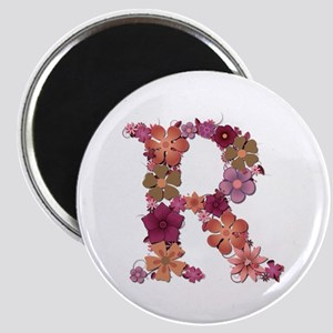 R Pink Flowers Round Magnet