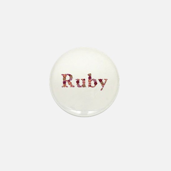 Ruby Pink Flowers Mini Button
