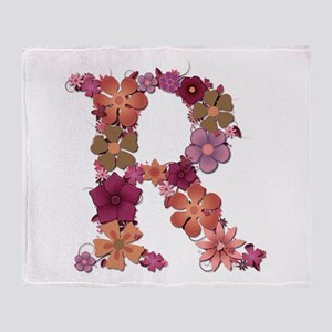 R Pink Flowers Throw Blanket