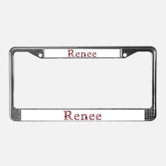 Renee Pink Flowers License Plate Frame