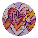 Love Hearts + Poem Words Round Car Magnet