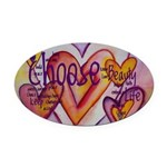 Love Hearts + Poem Words Oval Car Magnet