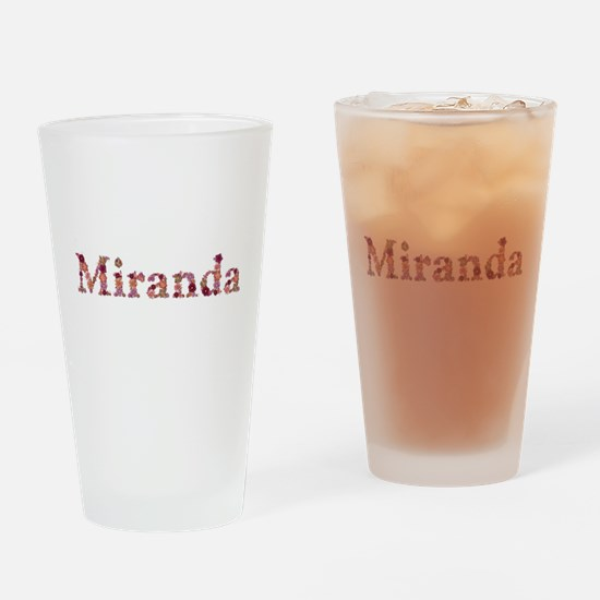 Miranda Pink Flowers Drinking Glass