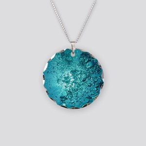 Blue Water Air Bubbles Necklace Circle Charm
