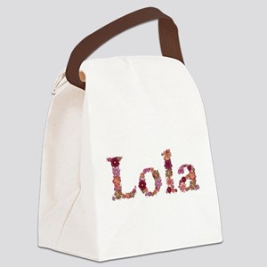 Lola Pink Flowers Canvas Lunch Bag