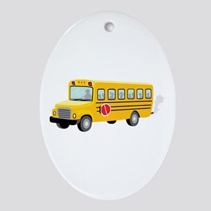 School Bus Ornament (Oval)