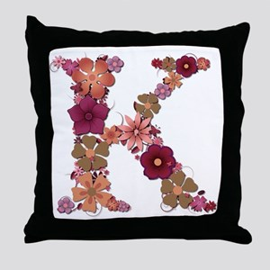 K Pink Flowers Throw Pillow