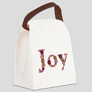 Joy Pink Flowers Canvas Lunch Bag