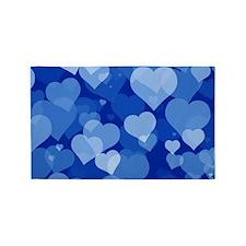 Blue Valentine Hearts Area Rug