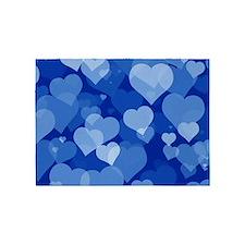 Blue Valentine Hearts 5'x7'area Rug