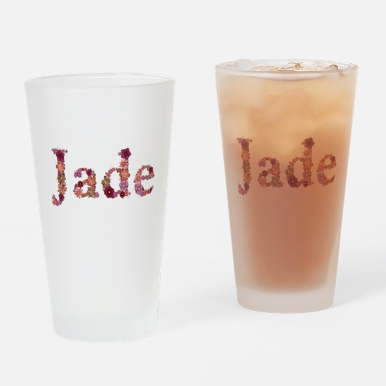 Jade Pink Flowers Drinking Glass