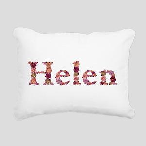 Helen Pink Flowers Rectangular Canvas Pillow