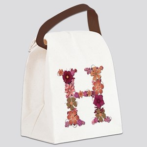 H Pink Flowers Canvas Lunch Bag