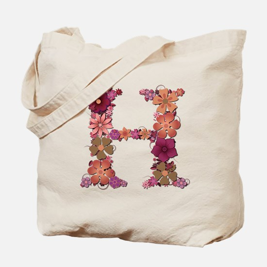 H Pink Flowers Tote Bag