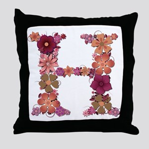H Pink Flowers Throw Pillow
