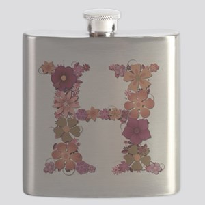 H Pink Flowers Flask