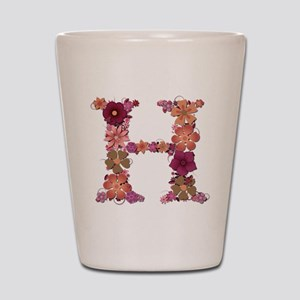 H Pink Flowers Shot Glass