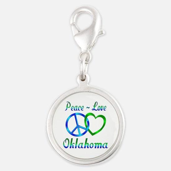 Peace Love Oklahoma Silver Round Charm