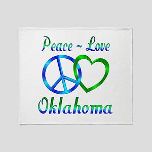 Peace Love Oklahoma Throw Blanket