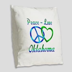 Peace Love Oklahoma Burlap Throw Pillow