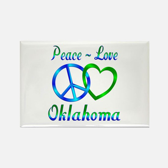Peace Love Oklahoma Rectangle Magnet