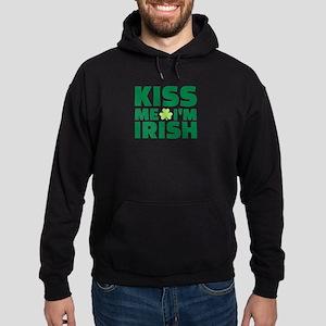 Kiss me I'm Irish shamrock Hoodie (dark)