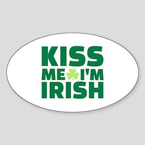 Kiss me I'm Irish shamrock Sticker (Oval)