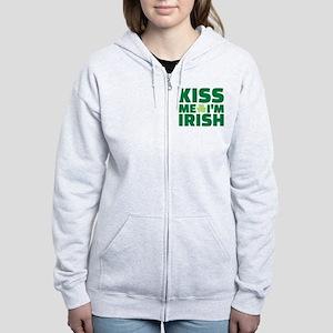 Kiss me I'm Irish shamrock Women's Zip Hoodie