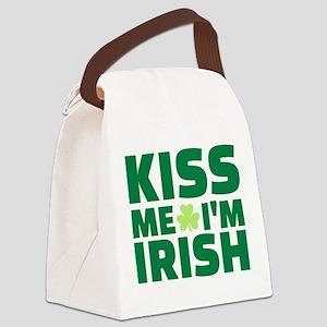 Kiss me I'm Irish shamrock Canvas Lunch Bag